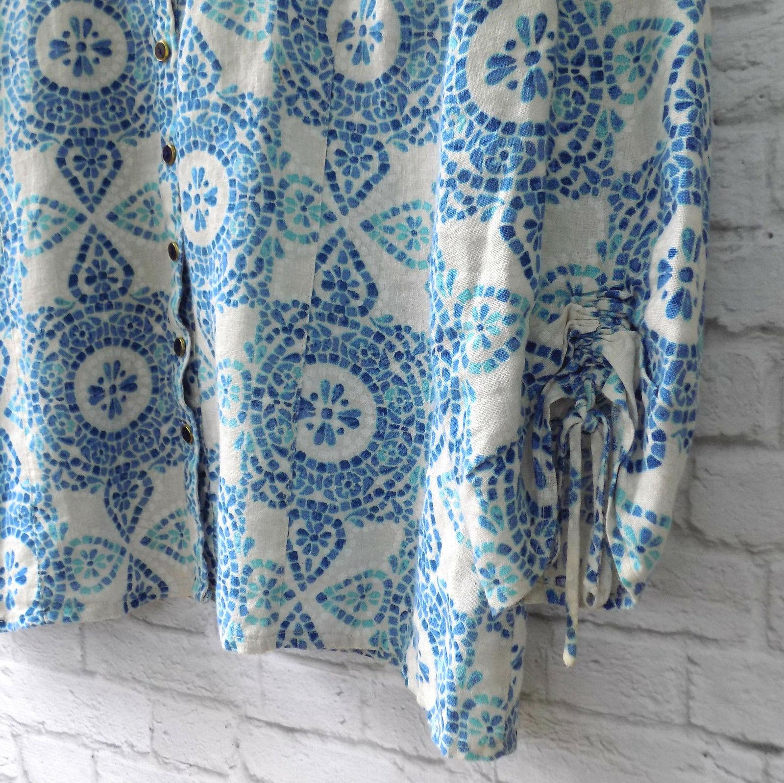 Linen Blouse 18W Turquoise Cobalt Blue JM Collection Medallion Boho Casual
