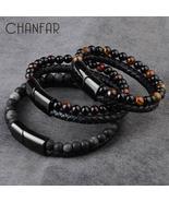 2020 Fashion Men Jewelry Natural Stone Genuine Leather Bracelet Black St... - $14.99