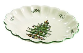 Spode Christmas Tree Oval Fluted Dish - $38.78