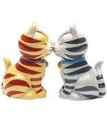 Striped Kissing Kittens Magnetized Tabby Cats Salt And Pepper Shaker Set - $12.86