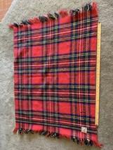 Curvon Crown Wool Baby Blanket Throw Red blue Cream Plaid Fringe Vtg 35 ... - $20.79