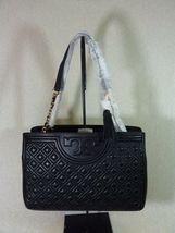 NWT Tory Burch Black Fleming Open Shoulder Tote image 5