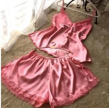 2pcs Pink Satin Sleepwear Sexy Lingerie V-neck Gecelik Lacy Backless Paj... - $24.70