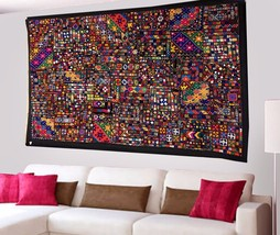 Antique Afghani Hand Embroidered Zari Wall Tapestry Patchwork Vintage Ha... - $13.131,55 MXN