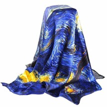 Women Casual Scarves Silk Spring Fall Van Oil Painting Square Wrap Scarf... - €33,36 EUR