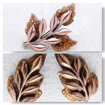 VTG RARE MATISSE Renoir Copper LAUREL Brown Enamel Leaf Clip Earrings Br... - $148.50