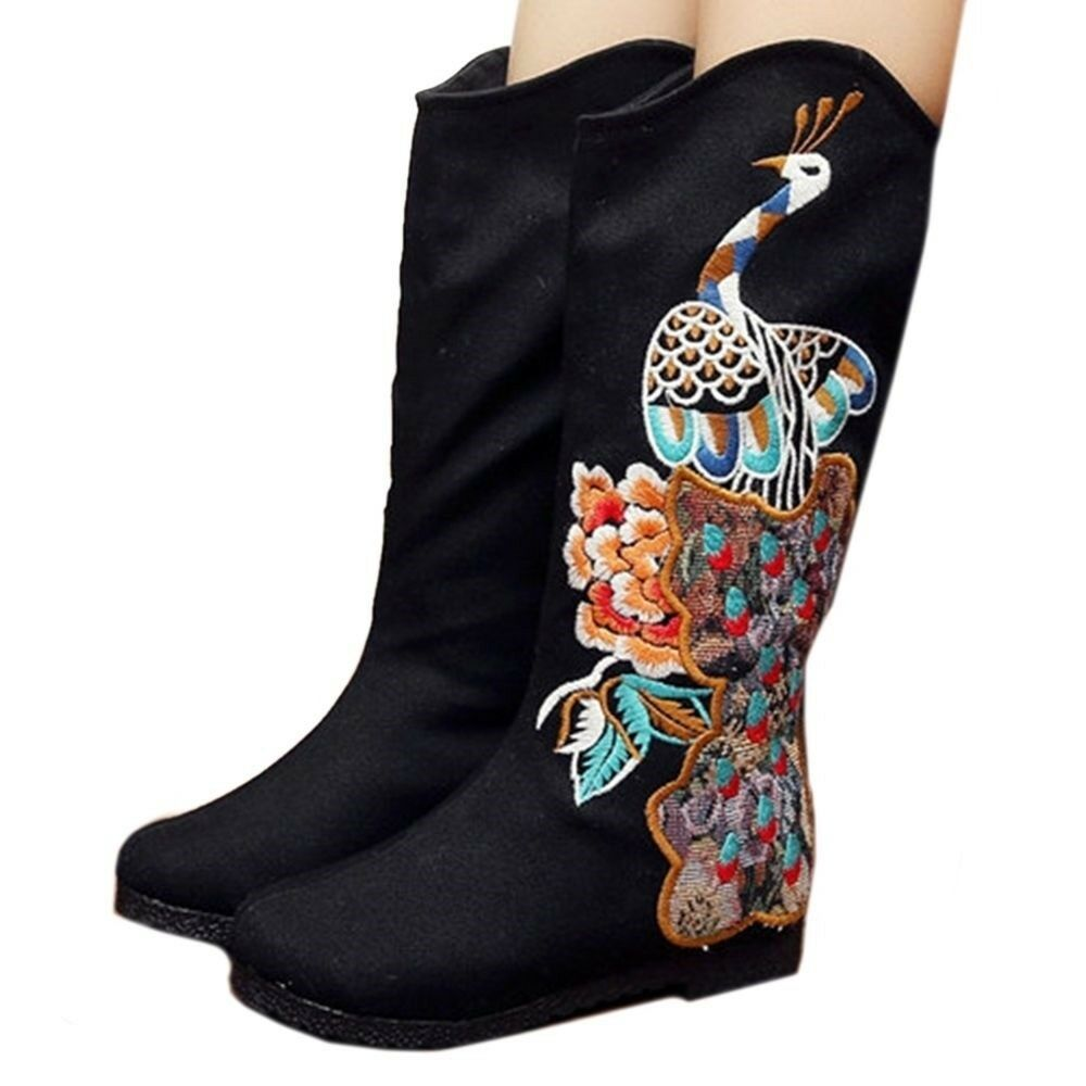 Primary image for Peacock Vintage Beijing Cloth Shoes Embroidered Boots black 35
