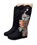 Peacock Vintage Beijing Cloth Shoes Embroidered Boots black 35 - $49.99
