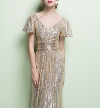 GOLD Maxi Sequin Dress Cap Sleeve High Waist Retro Style Maxi Long Sequin Dress image 6