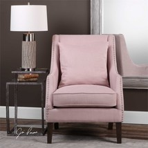 NEW LOUNGE CLUB ARMCHAIR BLUSH WOVEN COTTON BLEND FABRIC NICKEL NAIL HEA... - $855.80