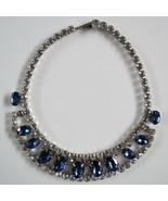 Trifari 1940's Blue White Rhinestone Necklace PAT PEND 16 in metal diama... - $148.49