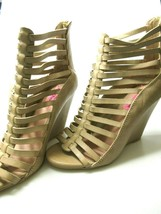 Betsey Johnson Wedge Heel Gladiator Shoes Sandals Beige Faux Leather 8.5... - $49.47