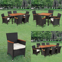Patio Outdoor Garden Dining Set Rattan Wicker Acacia Wood Choice of 3 Mo... - $337.99
