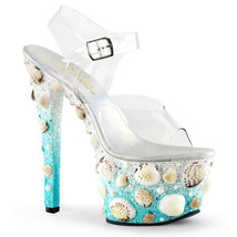 "Sexy Stripper Dancer 7"" High Heel Shoes Sandals w/ Seashell Covered Plat... - $99.95"