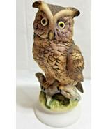 "Lefton Wise Owl Bird Art Pottery Figurine Statue Brown 6"" - $24.99"