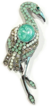 Flamingo Bird Pin Brooch Crystal Turquoise Multicolor Silver Tone Metal - $25.99