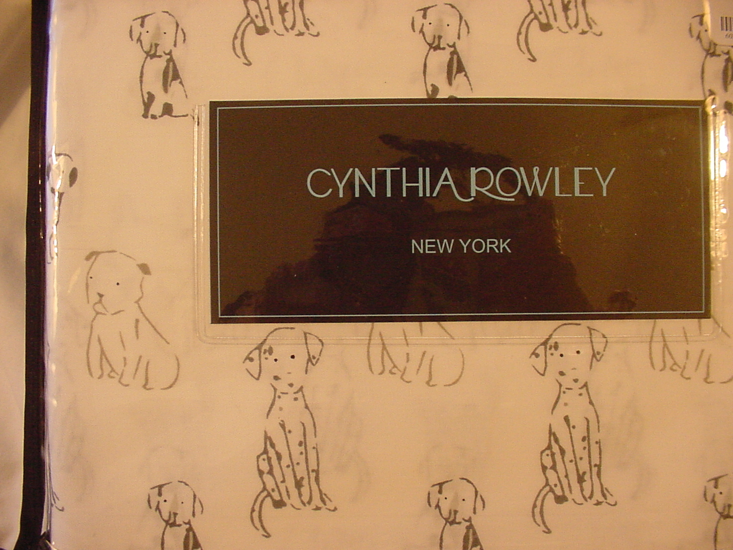 Cynthia Rowley Sketched Dogs Puppies Dalmatians on White Cotton Sheet Set Queen