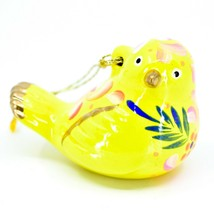 Handcrafted Painted Ceramic Yellow Canary Songbird Confetti Ornament Made Peru image 1