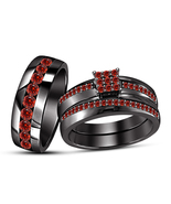14k Black Gold Finish 925 Sterling Solid Silver Red Garnet His Her Trio ... - £125.82 GBP