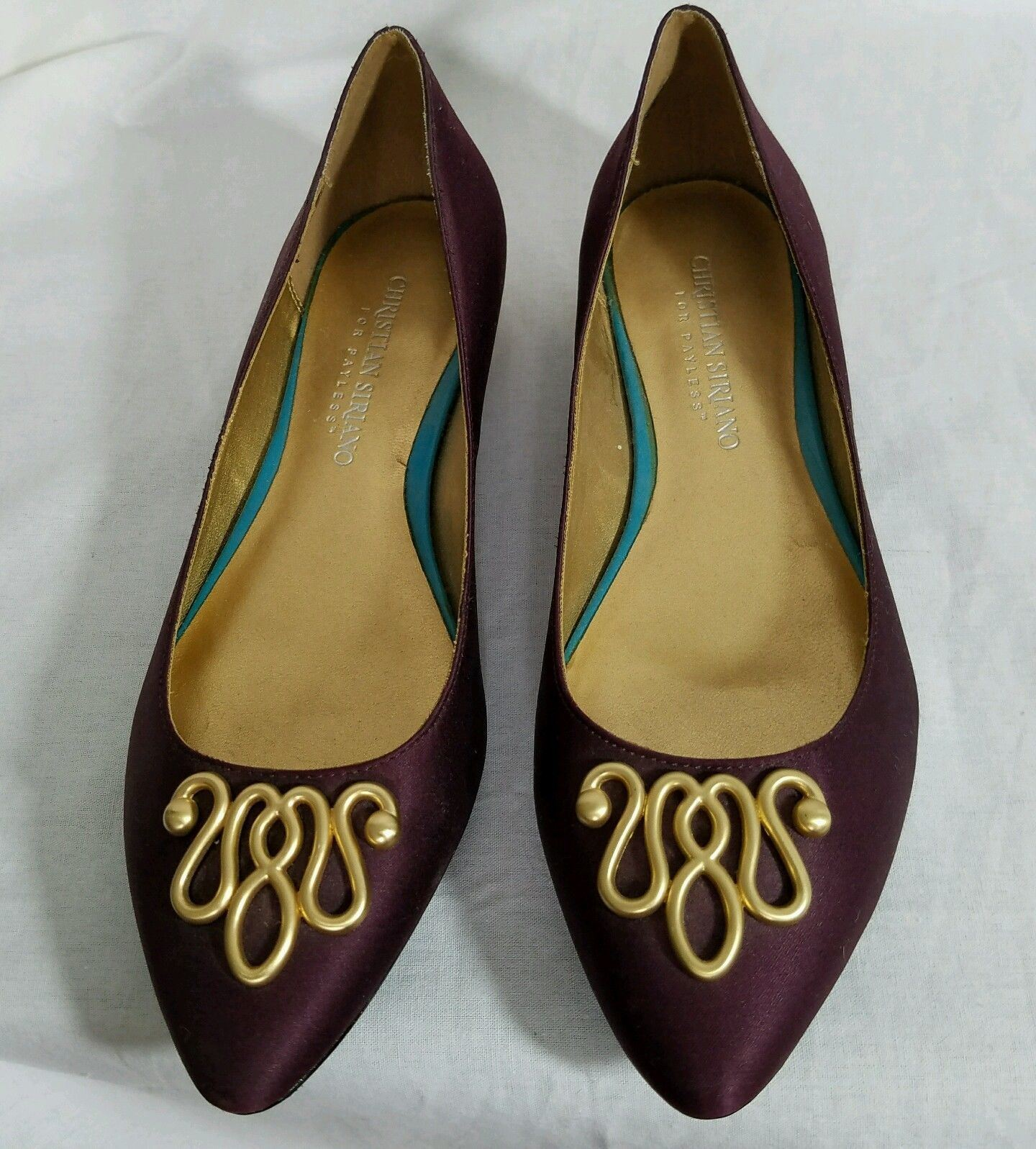 Burgundy Satin Ballett Flats Gold Heel Toe Decoration Christian Siriano Sz 7 New