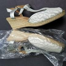White Mountain Metallic Size 11 Espadrille Wedge Sandal Peep Toe - $37.05