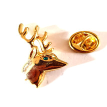 gold Stags Head with Full Antlers reindeer tie pin, Lapel Pin