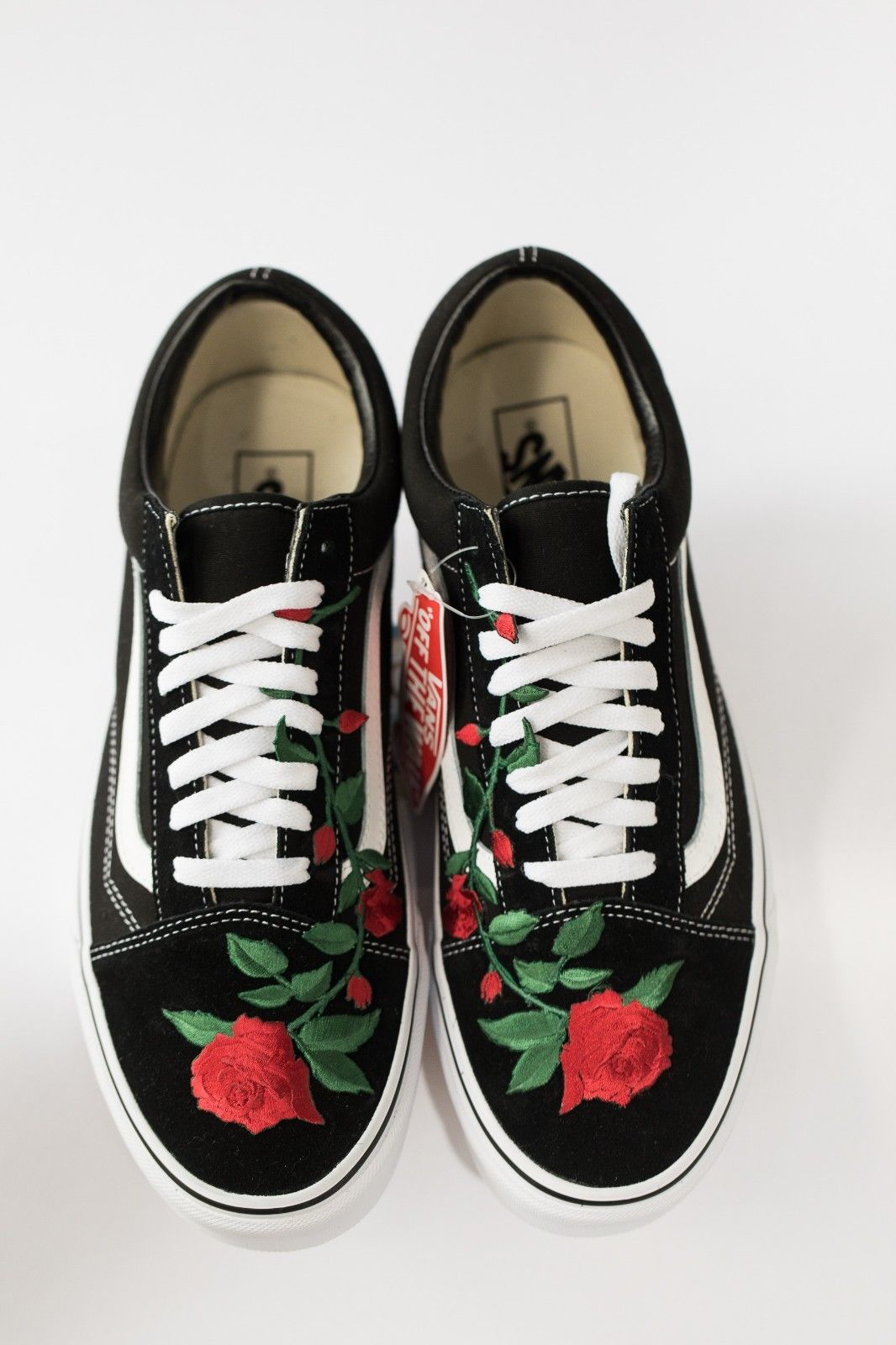 Vans Rose embroidered customs available in all sizes black and white image 6