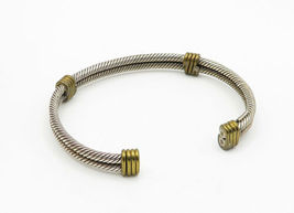 MEXICO 925 Sterling Silver - Vintage 2 Tone Wrapped Twist Cuff Bracelet - B6214 image 3