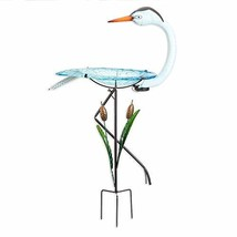 Bits and Pieces -  Solar Powered Crane Birdbath - Outdoor Metal Bird Bath - $64.93
