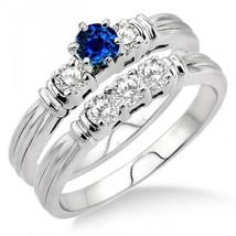 1.25 Carat Sapphire & Sim Diamond Three Stone Bridal Set on 14k White Gold Fn  - $99.99