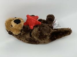 "Aurora Sea Otter With Red Starfish Plush Soft Stuffed Animal Toy 8"" Lovey - $8.50"