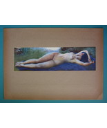NUDE Young Woman Sleeping in Meadow Open Air - COLOR Typogravure Print - $22.95