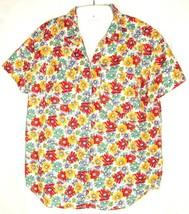 Liz Wear Blouse Top Size M Vintage 90's Floral Boho short sleeve oversize - $19.75