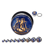 "PAIR-Ship Vintage Blue/Gold Steel Single Flare Ear Plugs 19mm/3/4"" Gauge... - $10.99"