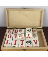 Vintage 17 Wooden Blocks In A Wooden Case - $14.03
