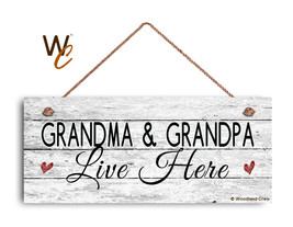 Grandma and Grandpa Live Here Sign, Rustic Weathered 6x14 Sign, Grandpar... - $17.33