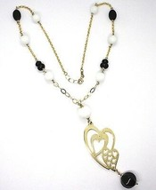 Necklace Silver 925, Yellow, Onyx, Agate White, Double Heart, Pendant image 2