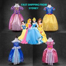 Kids Girls Princess Costume Fairytale Dress Up Belle Cinderella Aurora Rapunzel+ - $18.99