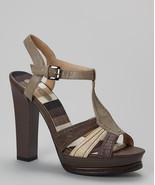 Dark Beige Two-Tone Platform Sandal 7 Gorgeous! - $15.00