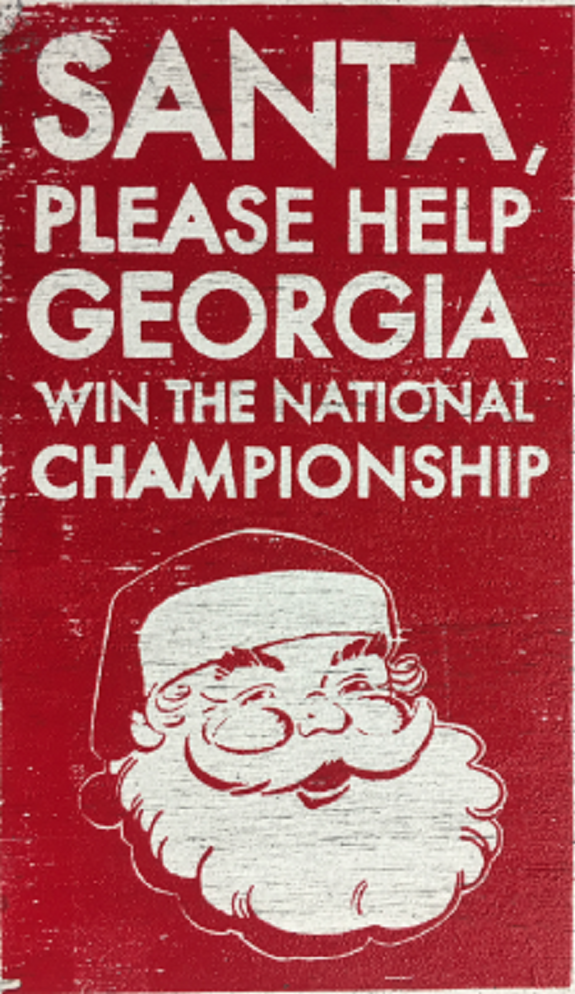 Rustic Wooden Sign Santa, Please Help Georgia Win....Approx Size 6x10 Item 21212