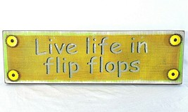 Vintage Style 'Live Life In Flip Flops' decor wall hanging sign - $17.81