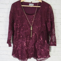 JM Collection Medium Shirt Top Womens Burgundy Lace Sequined MSRP $55 D01 - $26.89