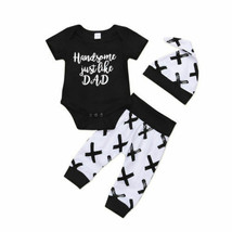 Newborn Baby Boys Letter Top Romper+ X Printed  Pants Leggings Outfits Set - $12.19