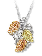 Black Hills Gold Sterling Silver Grapes And Leaves Pendant Necklace - $75.24