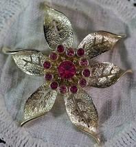Gold Tone & Pink Rhinestone Sarah Coventry Fashion Flower Poinsettia 1967 Brooch - $19.99