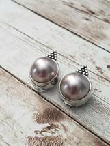 Vintage Clip On Earrings Unusual Pink & Silver Tone - $13.99