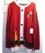 Men's Ugly Sweater Santa Suit With Bottle Christmas Sweater Holiday Size XL - £23.48 GBP