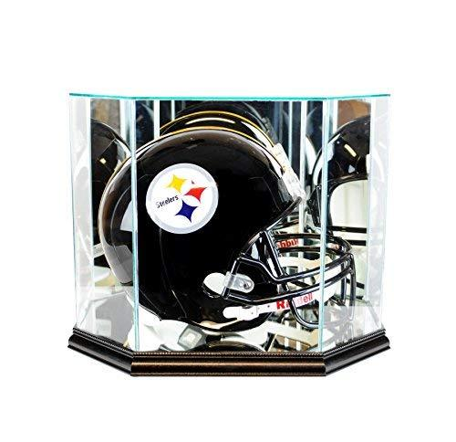 Perfectcase Octagon Glass Football Helmet Display Case with Mirror and Black Mol