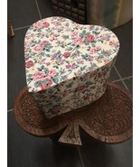 7 1/4 Inch VINTAGE BEAUTIFUL Floral HEART SHAPE PAPER BOX Sturdy - $14.34