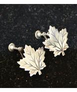 Vintage sterling silver earrings, leaf stud earrings, clip on earrings (... - $17.99